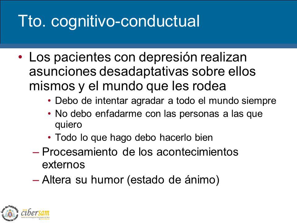 Tto. cognitivo-conductual Los pacientes con depresión realizan asunciones desadaptativas sobre ellos mismos y el mundo que les rodea Debo de intentar