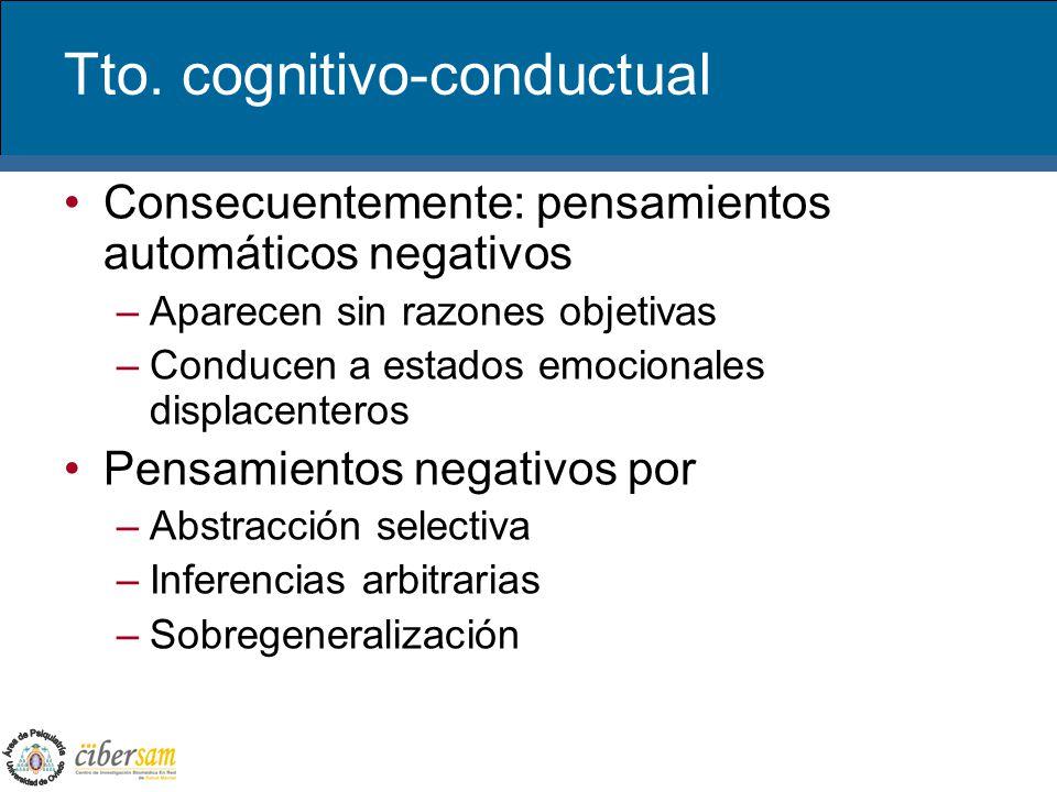 Tto. cognitivo-conductual Consecuentemente: pensamientos automáticos negativos –Aparecen sin razones objetivas –Conducen a estados emocionales displac