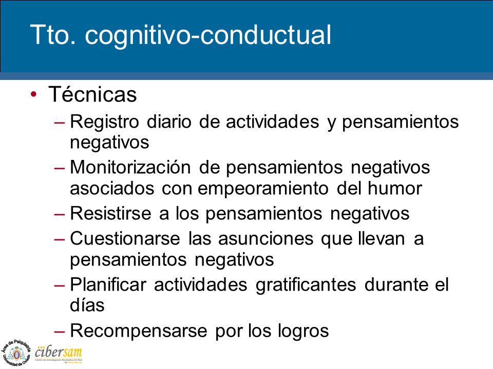 Tto. cognitivo-conductual Técnicas –Registro diario de actividades y pensamientos negativos –Monitorización de pensamientos negativos asociados con em