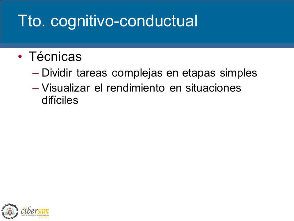 Tto. cognitivo-conductual Técnicas –Dividir tareas complejas en etapas simples –Visualizar el rendimiento en situaciones difíciles