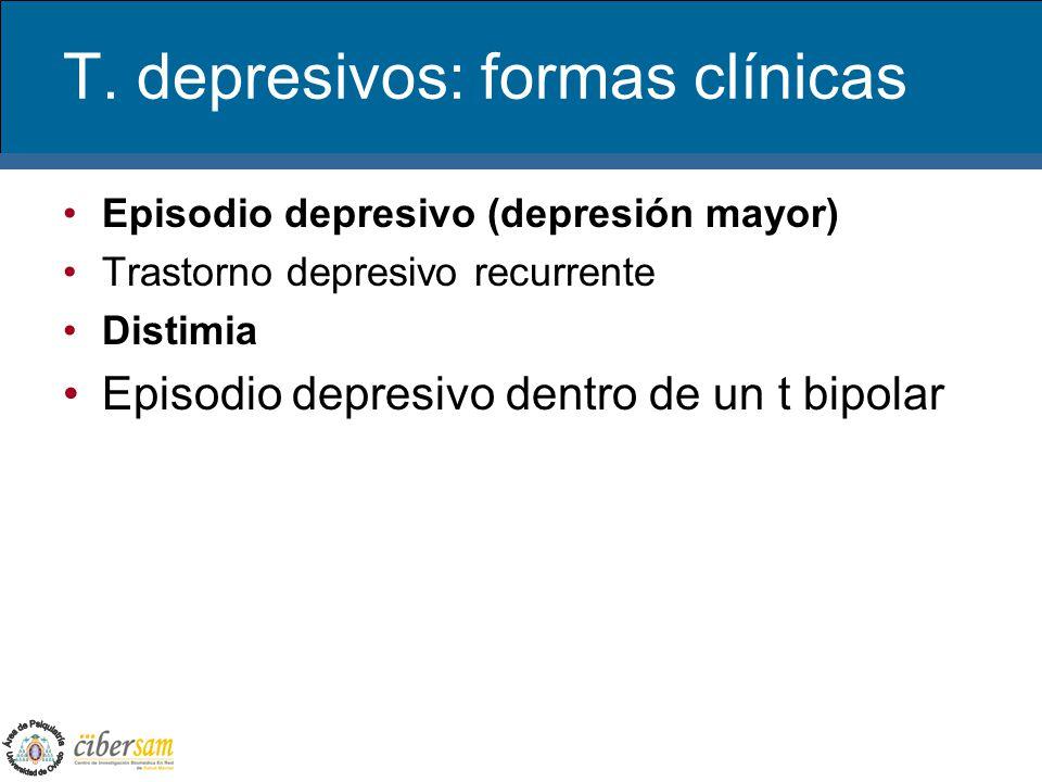 T. depresivos: formas clínicas Episodio depresivo (depresión mayor) Trastorno depresivo recurrente Distimia Episodio depresivo dentro de un t bipolar