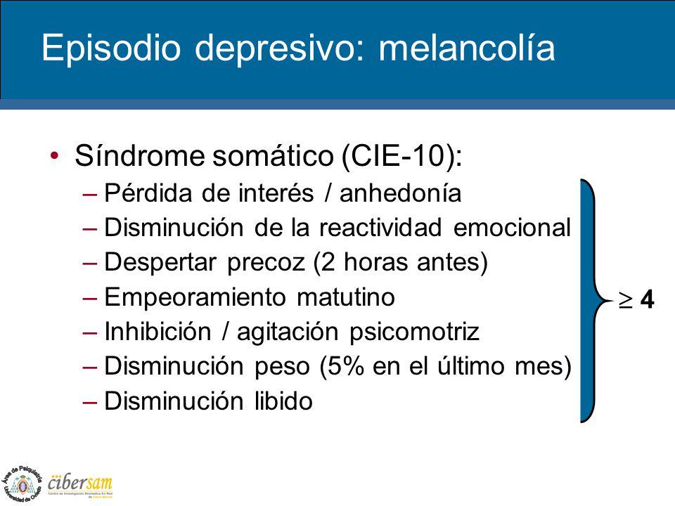 Episodio depresivo: melancolía Síndrome somático (CIE-10): –Pérdida de interés / anhedonía –Disminución de la reactividad emocional –Despertar precoz