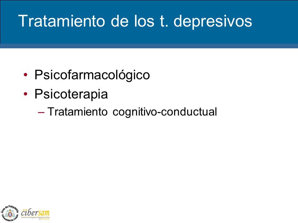 Tratamiento de los t. depresivos Psicofarmacológico Psicoterapia –Tratamiento cognitivo-conductual