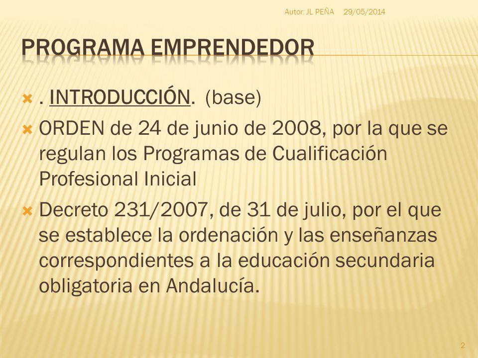 . INTRODUCCIÓN. (base) ORDEN de 24 de junio de 2008, por la que se regulan los Programas de Cualificación Profesional Inicial Decreto 231/2007, de 31