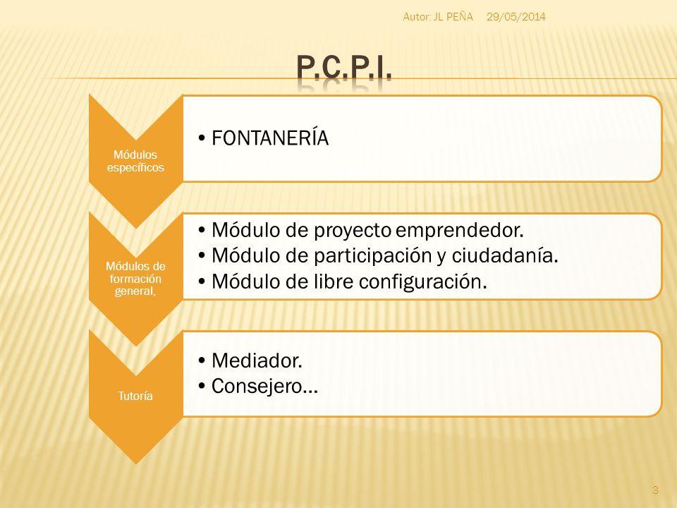 Módulos específicos FONTANERÍA Módulos de formación general, Módulo de proyecto emprendedor. Módulo de participación y ciudadanía. Módulo de libre con