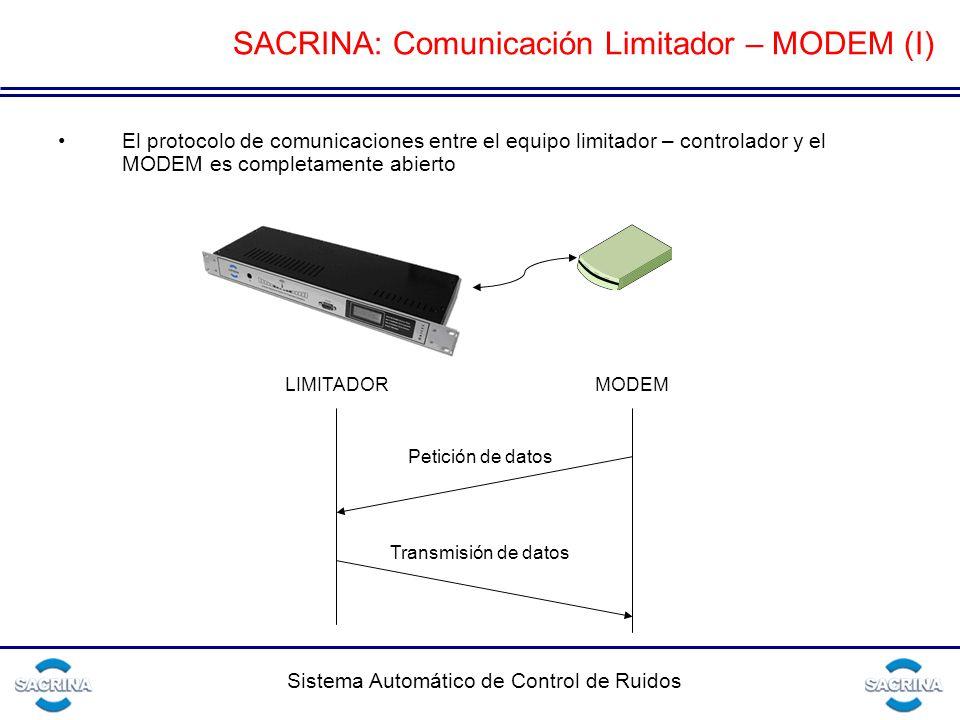 Sistema Automático de Control de Ruidos SACRINA: Comunicación Limitador – MODEM (I) El protocolo de comunicaciones entre el equipo limitador – controlador y el MODEM es completamente abierto LIMITADORMODEM Petición de datos Transmisión de datos