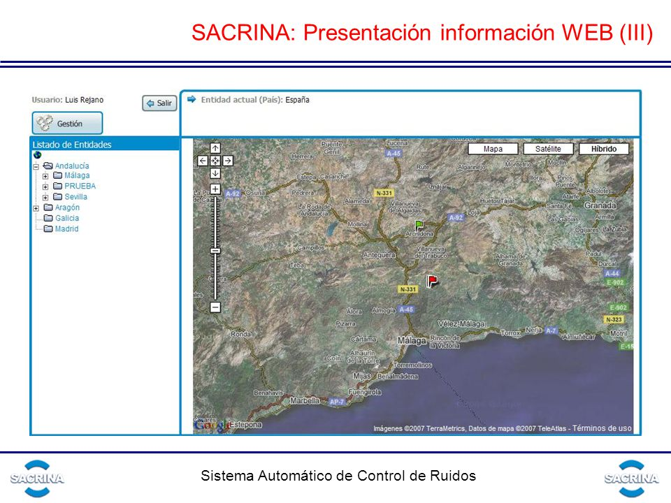 Sistema Automático de Control de Ruidos SACRINA: Presentación información WEB (III)