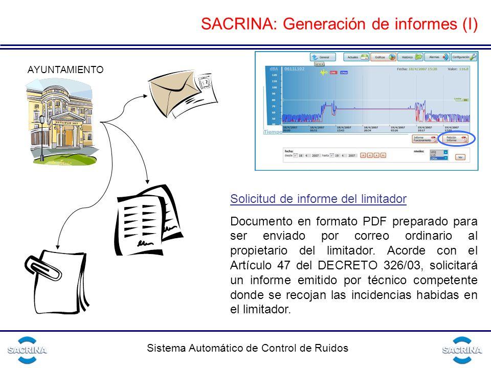 Sistema Automático de Control de Ruidos AYUNTAMIENTO Solicitud de informe del limitador Documento en formato PDF preparado para ser enviado por correo ordinario al propietario del limitador.