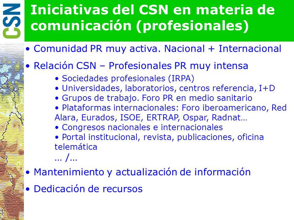 Iniciativas del CSN en materia de comunicación (profesionales) Comunidad PR muy activa.