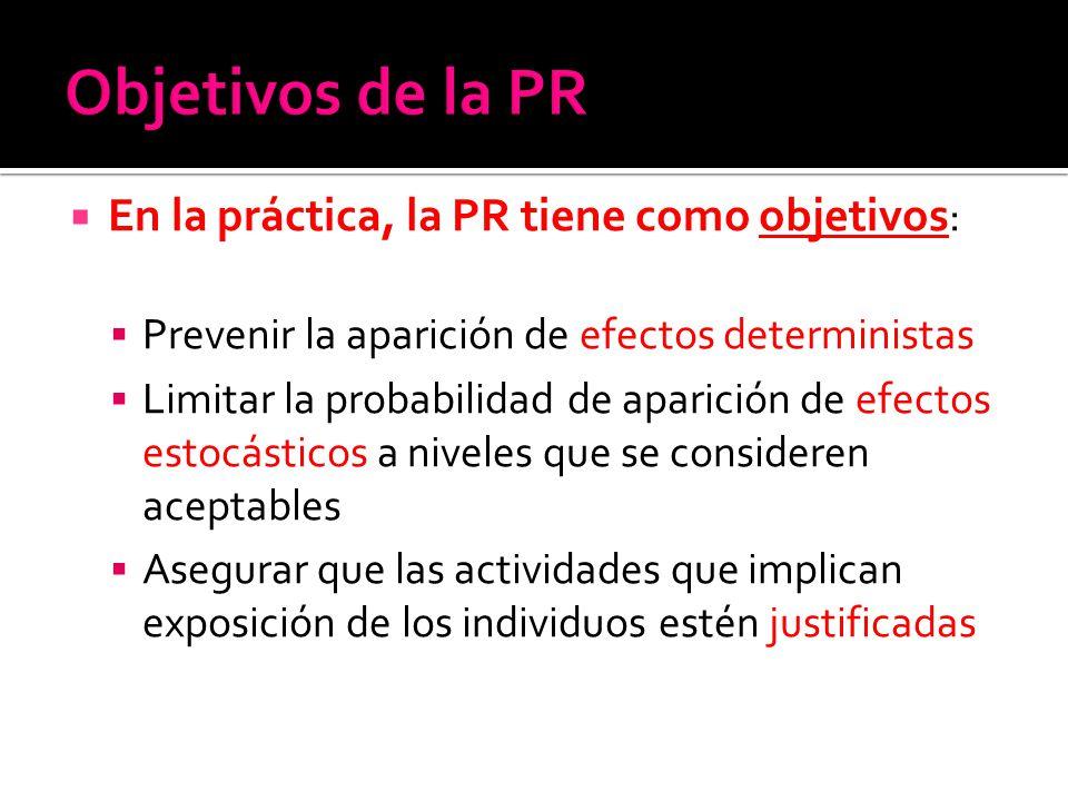 En la práctica, la PR tiene como objetivos : Prevenir la aparición de efectos deterministas Limitar la probabilidad de aparición de efectos estocástic