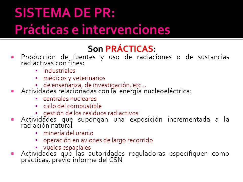 Son PRÁCTICAS: Producción de fuentes y uso de radiaciones o de sustancias radiactivas con fines: industriales médicos y veterinarios de enseñanza, de
