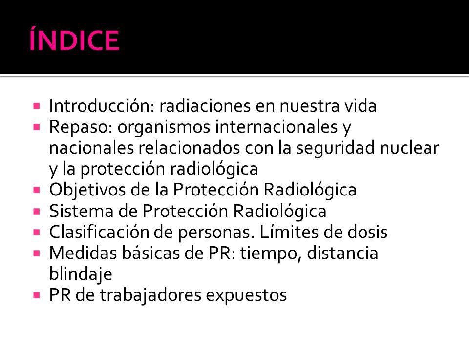 Introducción: radiaciones en nuestra vida Repaso: organismos internacionales y nacionales relacionados con la seguridad nuclear y la protección radiol