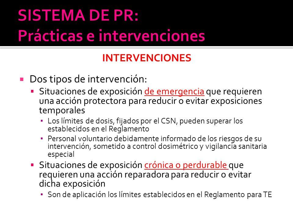 INTERVENCIONES Dos tipos de intervención: Situaciones de exposición de emergencia que requieren una acción protectora para reducir o evitar exposicion