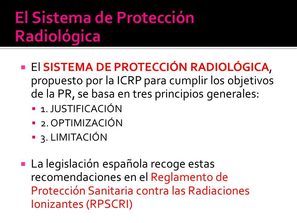 El SISTEMA DE PROTECCIÓN RADIOLÓGICA, propuesto por la ICRP para cumplir los objetivos de la PR, se basa en tres principios generales: 1. JUSTIFICACIÓ