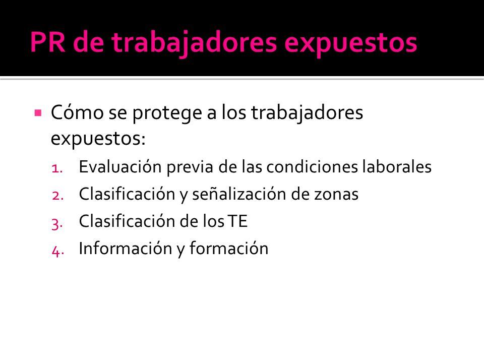 Cómo se protege a los trabajadores expuestos: 1. Evaluación previa de las condiciones laborales 2. Clasificación y señalización de zonas 3. Clasificac