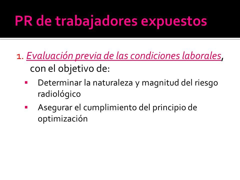 1. Evaluación previa de las condiciones laborales, con el objetivo de: Determinar la naturaleza y magnitud del riesgo radiológico Asegurar el cumplimi