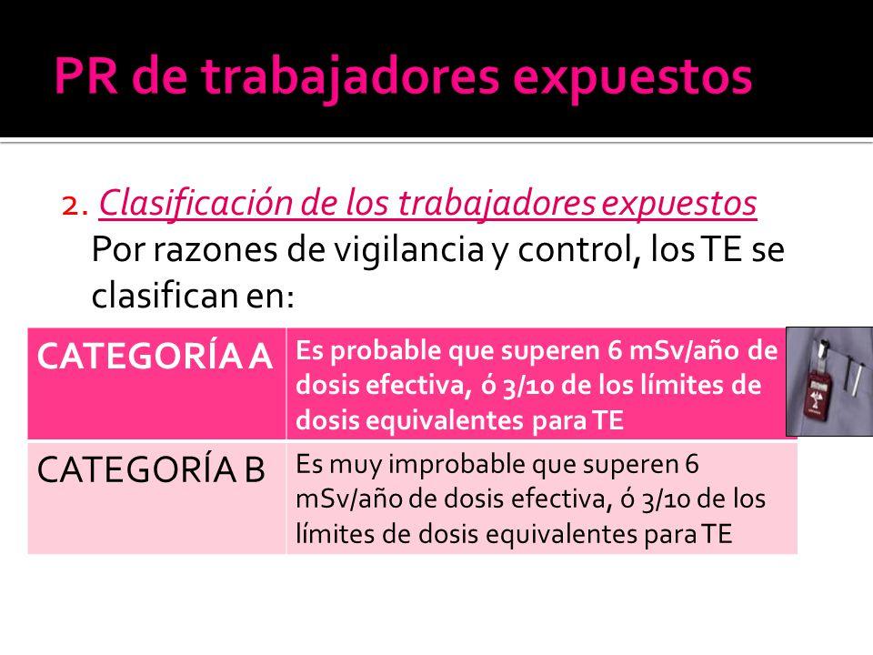 2. Clasificación de los trabajadores expuestos Por razones de vigilancia y control, los TE se clasifican en: CATEGORÍA A Es probable que superen 6 mSv