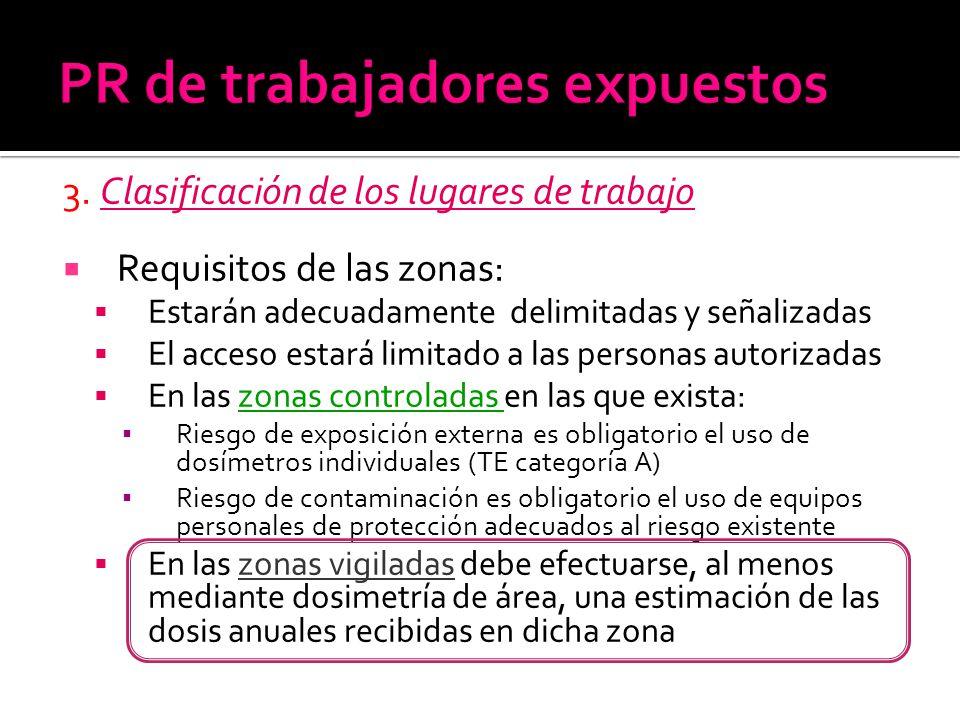 3. Clasificación de los lugares de trabajo Requisitos de las zonas: Estarán adecuadamente delimitadas y señalizadas El acceso estará limitado a las pe