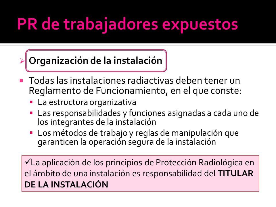 Organización de la instalación Todas las instalaciones radiactivas deben tener un Reglamento de Funcionamiento, en el que conste: La estructura organi