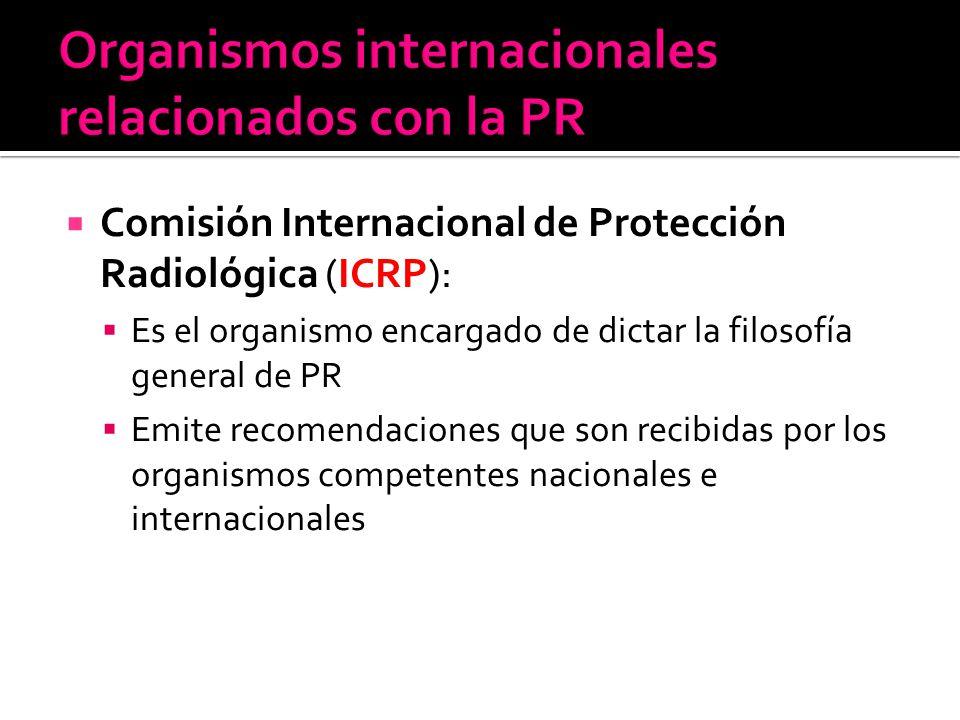 Comisión Internacional de Protección Radiológica (ICRP): Es el organismo encargado de dictar la filosofía general de PR Emite recomendaciones que son