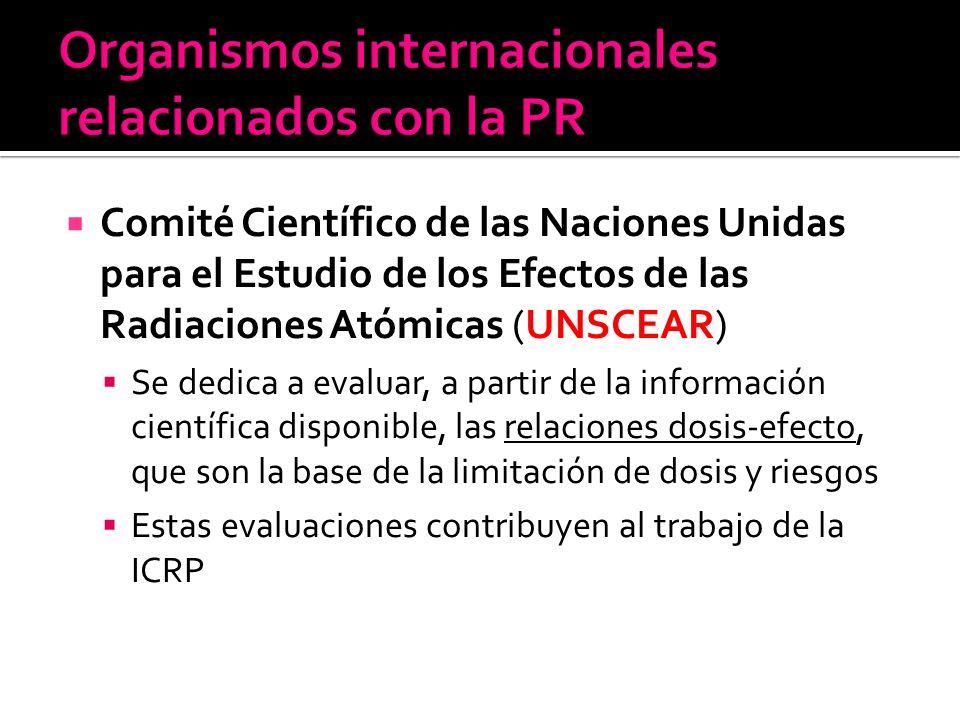 Comité Científico de las Naciones Unidas para el Estudio de los Efectos de las Radiaciones Atómicas (UNSCEAR) Se dedica a evaluar, a partir de la info