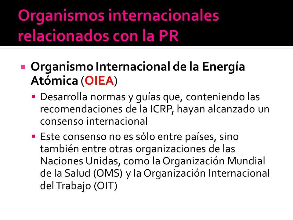 Organismo Internacional de la Energía Atómica (OIEA) Desarrolla normas y guías que, conteniendo las recomendaciones de la ICRP, hayan alcanzado un con