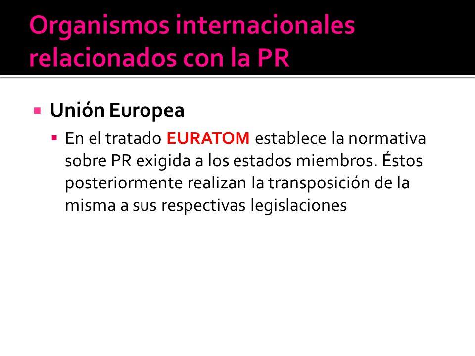 Unión Europea En el tratado EURATOM establece la normativa sobre PR exigida a los estados miembros. Éstos posteriormente realizan la transposición de