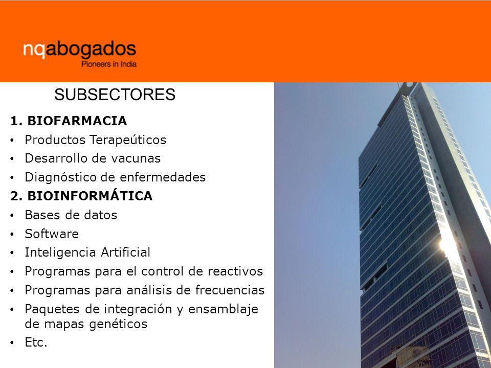 1.BIOFARMACIA Productos Terapeúticos Desarrollo de vacunas Diagnóstico de enfermedades 2.
