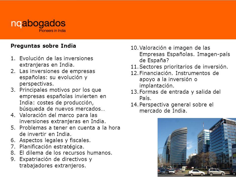 10.Valoración e imagen de las Empresas Españolas. Imagen-país de España? 11.Sectores prioritarios de inversión. 12.Financiación. Instrumentos de apoyo