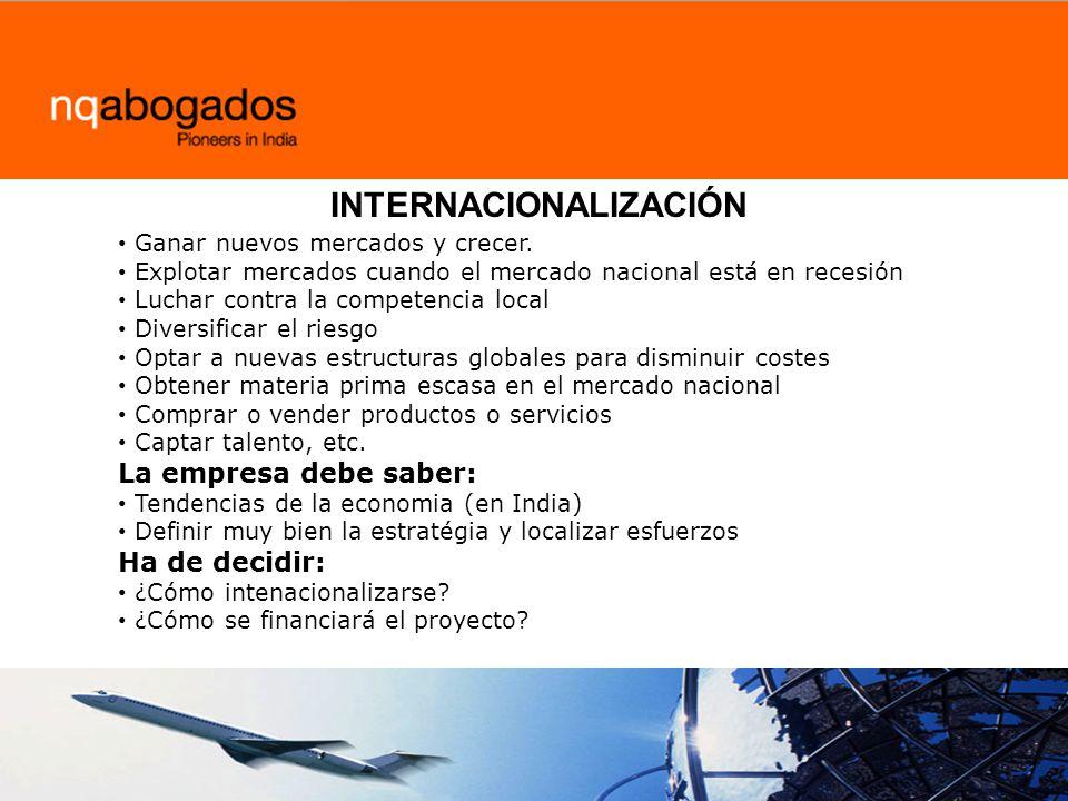 INTERNACIONALIZACIÓN Ganar nuevos mercados y crecer.