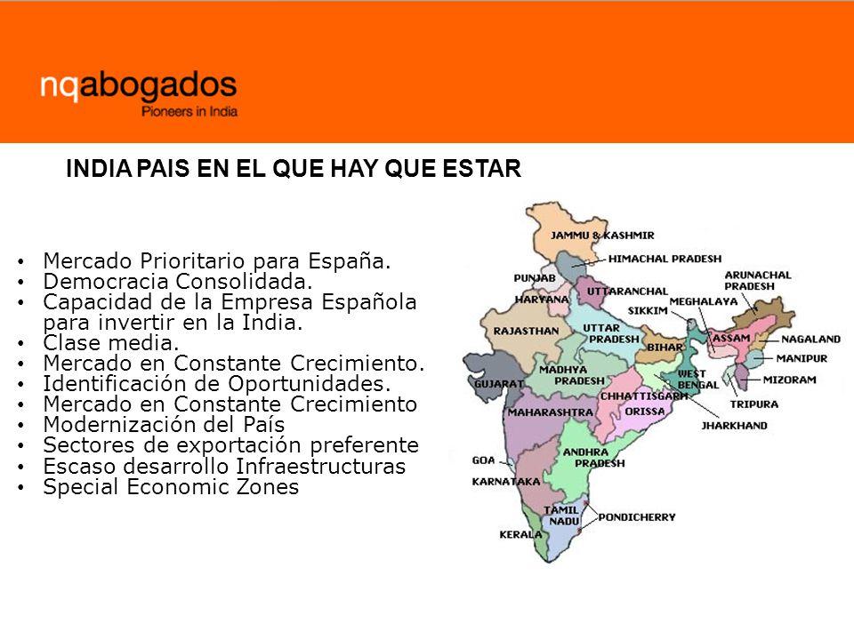 Mercado Prioritario para España. Democracia Consolidada. Capacidad de la Empresa Española para invertir en la India. Clase media. Mercado en Constante