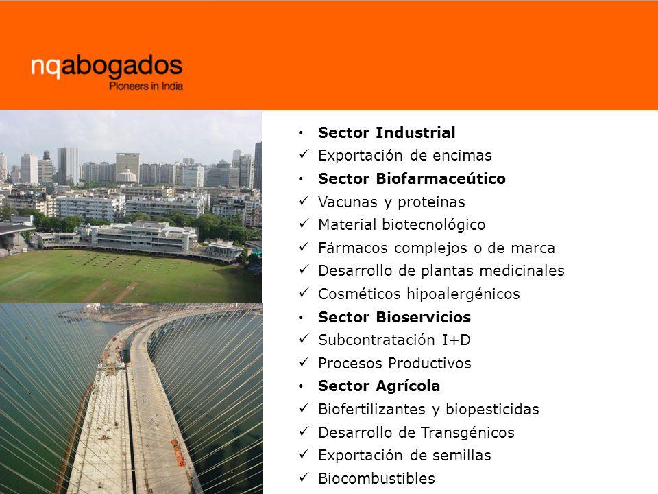 Sector Industrial Exportación de encimas Sector Biofarmaceútico Vacunas y proteinas Material biotecnológico Fármacos complejos o de marca Desarrollo d