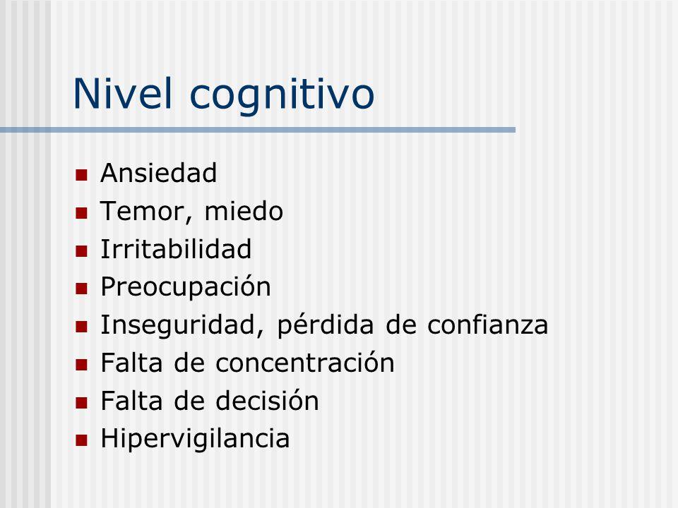 Nivel conductual (motor) Llanto Movimientos repetitivos Fumar, beber o comer en exceso Tatamudeo Conductas de evitación Compulsiones Hipervigilancia