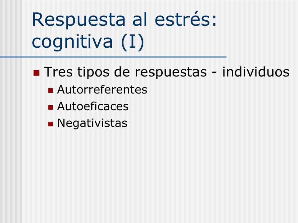 Respuesta al estrés: cognitiva (I) Tres tipos de respuestas - individuos Autorreferentes Autoeficaces Negativistas