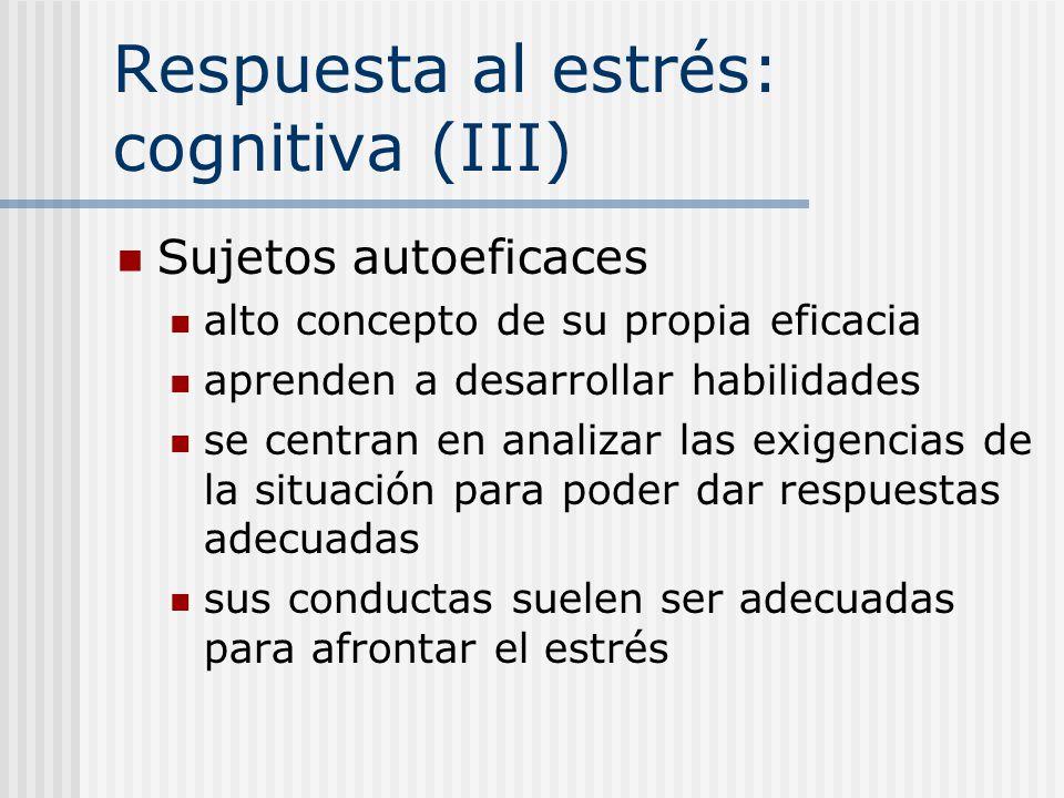 Respuesta al estrés: cognitiva (III) Sujetos autoeficaces alto concepto de su propia eficacia aprenden a desarrollar habilidades se centran en analiza