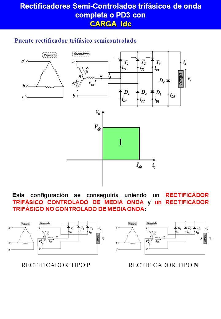 Puente rectificador trifásico semicontrolado I Esta configuración se conseguiría uniendo un RECTIFICADOR TRIFÁSICO CONTROLADO DE MEDIA ONDA y un RECTI