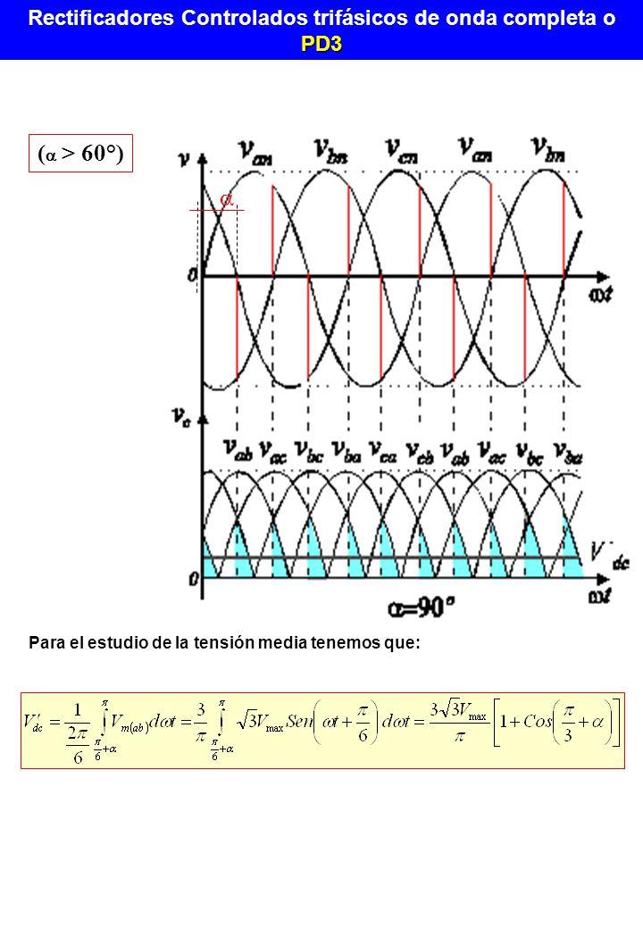 ( > 60°) Para el estudio de la tensión media tenemos que: PD3 Rectificadores Controlados trifásicos de onda completa o PD3