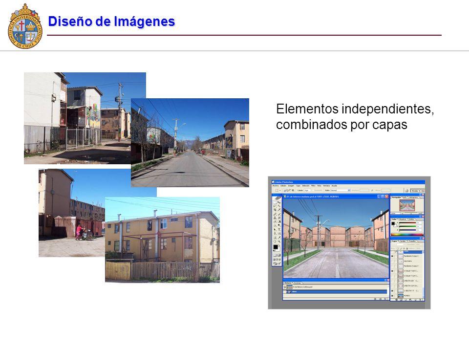 Elementos independientes, combinados por capas Diseño de Imágenes