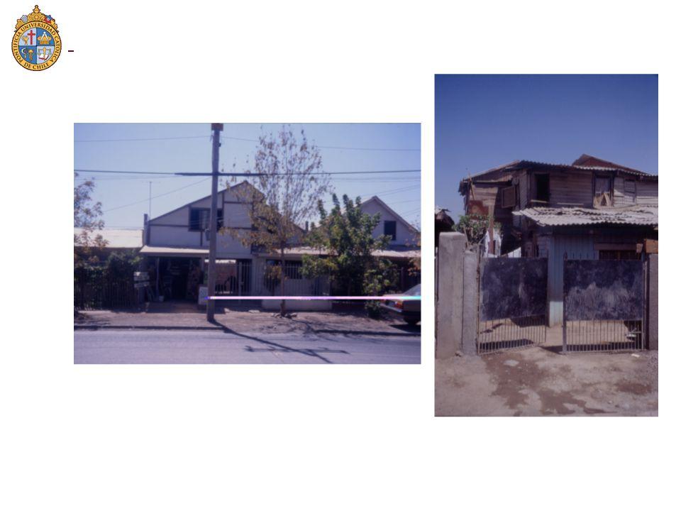 La variable Tipología-Sanidad se trató mediante 2 variables dummy: Alb&Drenaje: Vale 1 si la vivienda es de albañilería, y tiene agua y alcantarillado, y 0 en otro caso Alb&Baño: Vale 1 si la vivienda es de albañilería, y tiene un baño conectado a la red de agua y alcantarillado, y 0 en otro caso Cuando ambas dummy son 0, la opción ofrecida es un departamento totalmente equipado en el segundo piso de un edificio.
