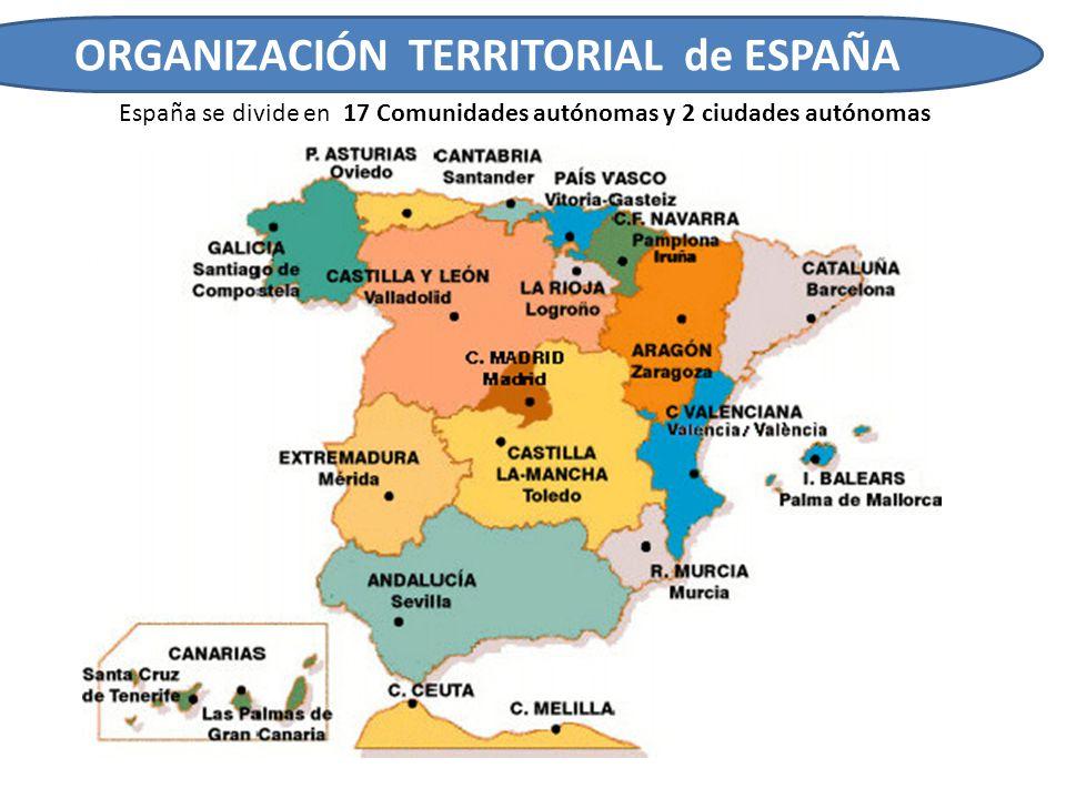ORGANIZACIÓN TERRITORIAL de ESPAÑA Cada Comunidad Autónoma está formada por diferentes provincias y éstas a su vez por municipios.