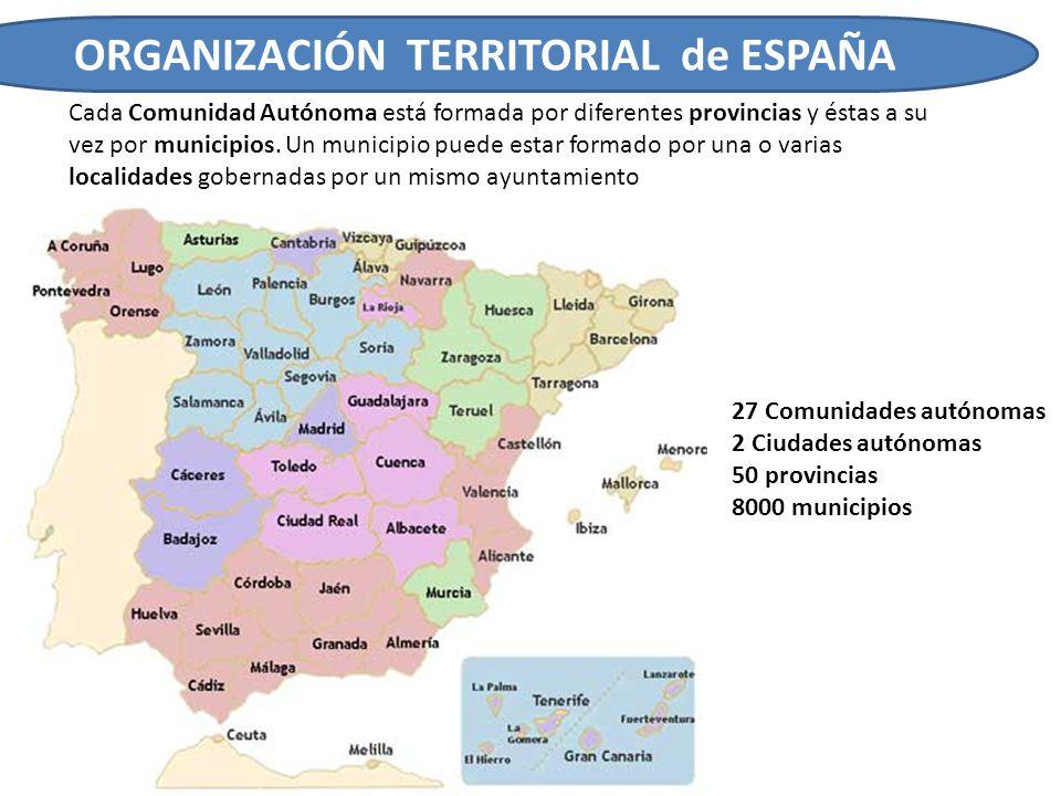 ORGANIZACIÓN TERRITORIAL de ESPAÑA Cada Comunidad Autónoma está formada por diferentes provincias y éstas a su vez por municipios. Un municipio puede