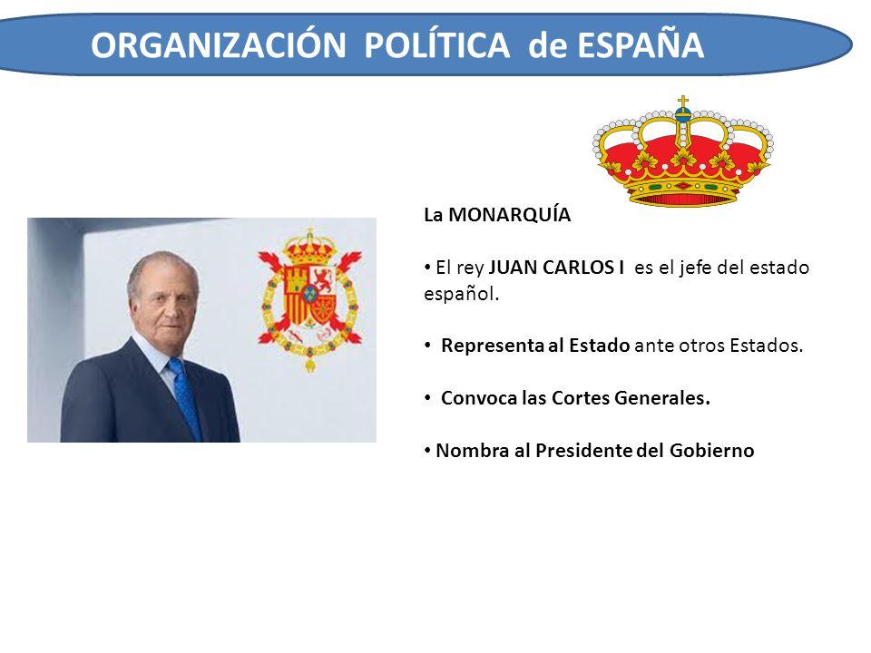 ORGANIZACIÓN POLÍTICA de ESPAÑA La MONARQUÍA El rey JUAN CARLOS I es el jefe del estado español. Representa al Estado ante otros Estados. Convoca las