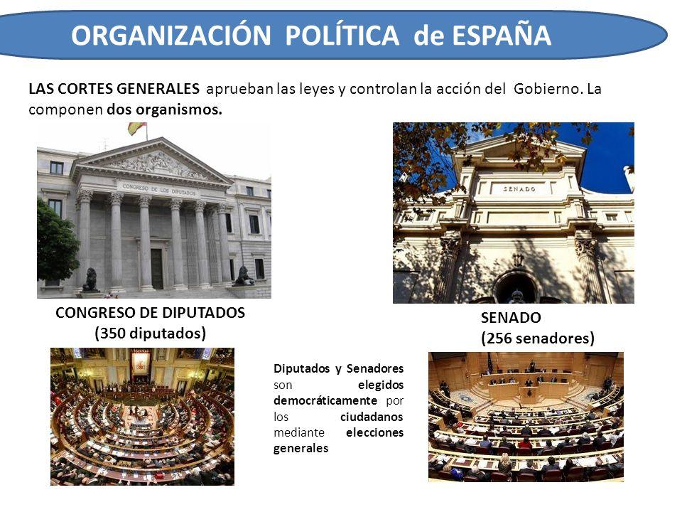 ORGANIZACIÓN POLÍTICA de ESPAÑA LAS CORTES GENERALES aprueban las leyes y controlan la acción del Gobierno. La componen dos organismos. CONGRESO DE DI