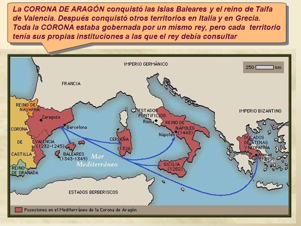 La CORONA DE ARAGÓN conquistó las Islas Baleares y el reino de Taifa de Valencia. Después conquistó otros territorios en Italia y en Grecia. Toda la C