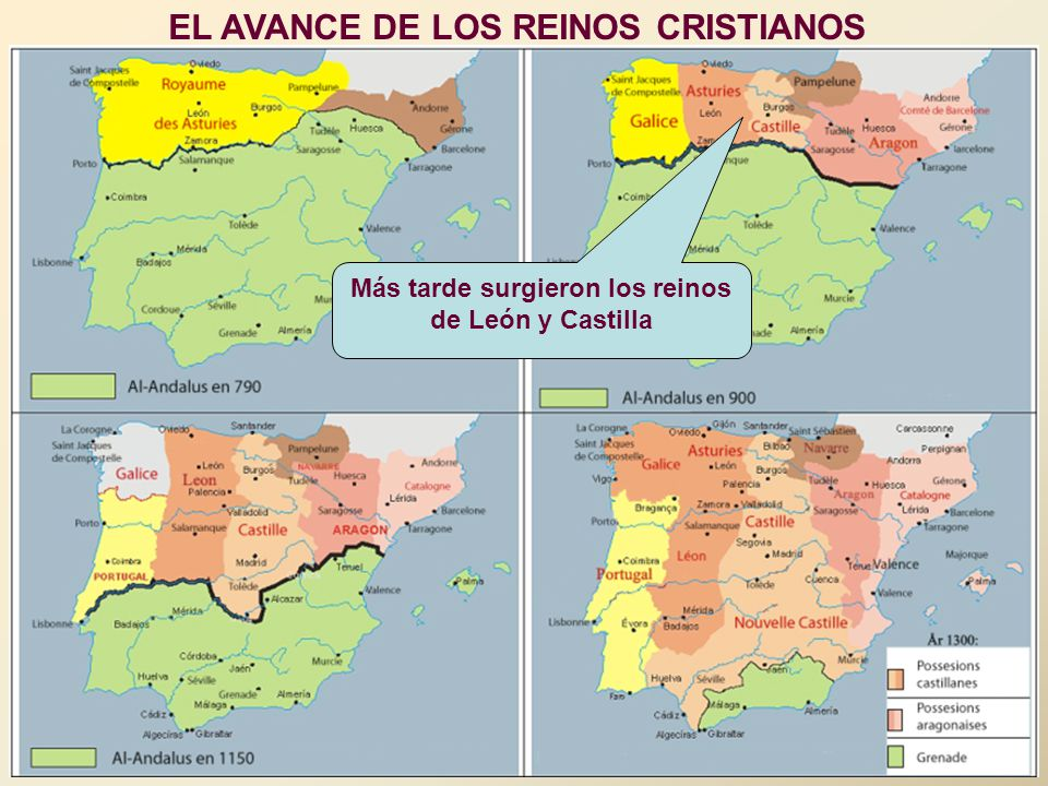 EL AVANCE DE LOS REINOS CRISTIANOS Más tarde surgieron los reinos de León y Castilla