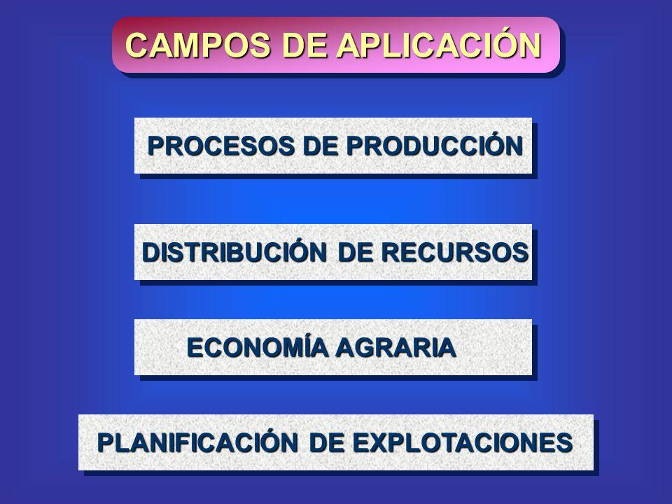 CAMPOS DE APLICACIÓN ECONOMÍA AGRARIA DISTRIBUCIÓN DE RECURSOS PROCESOS DE PRODUCCIÓN PLANIFICACIÓN DE EXPLOTACIONES