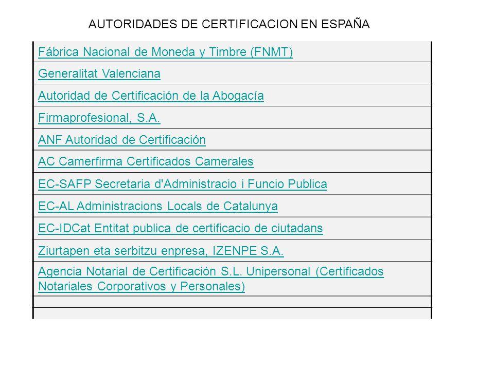 AUTORIDADES DE CERTIFICACION EN ESPAÑA Fábrica Nacional de Moneda y Timbre (FNMT) Generalitat Valenciana Autoridad de Certificación de la Abogacía Firmaprofesional, S.A.