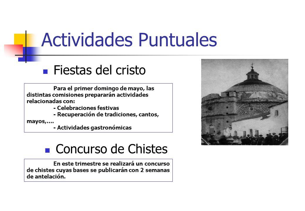 Actividades Puntuales Fiestas del cristo Para el primer domingo de mayo, las distintas comisiones prepararán actividades relacionadas con: - Celebraci