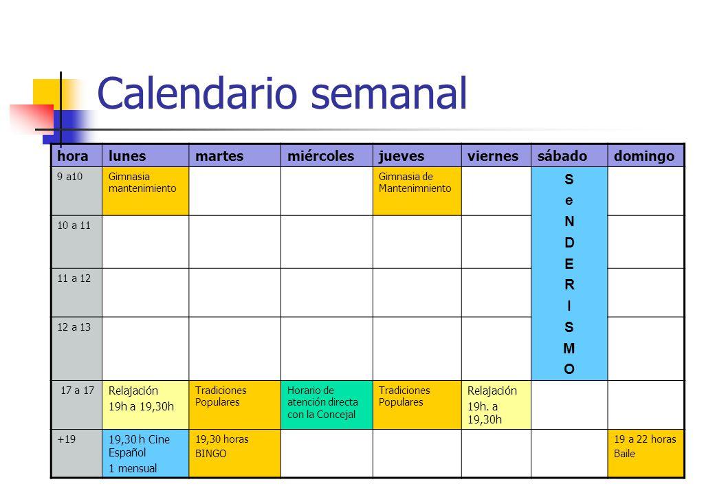 Calendario semanal horalunesmartesmiércolesjuevesviernessábadodomingo 9 a10Gimnasia mantenimiento Gimnasia de Mantenimniento SeNDERISMOSeNDERISMO 10 a