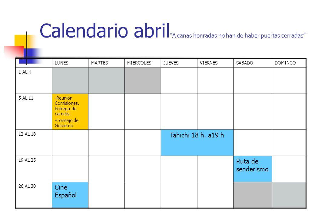 Calendario abril A canas honradas no han de haber puertas cerradas LUNESMARTESMIERCOLESJUEVESVIERNESSABADODOMINGO 1 AL 4 5 AL 11-Reunión Comisiones. E
